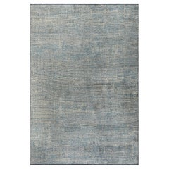 Light Blue and Silver Gray Tight Grid Abstract-Geo Pattern Rug with Shine