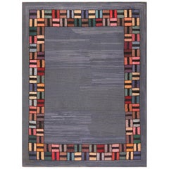 Light Blue Antique American Hooked Rug. Size: 6 ft 8 in x 8 ft 8 in