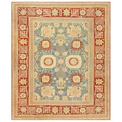 Light Blue Antique Indian Agra Carpet. Size: 11 ft 6 in x 14 ft