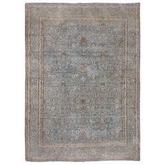 Light Blue Antique Persian Kerman Carpet with Vase Design, Allover Field