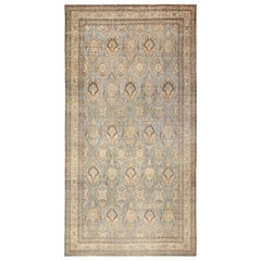 Light Blue Antique Persian Kerman Rug. Size: 10 ft 7 in x 19 ft 10 in