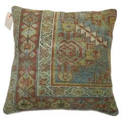 Light Blue Antique Persian Malayer Rug Pillow