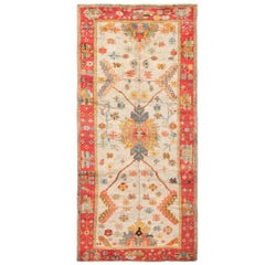 Light Blue Arts and Crafts Antique Turkish Oushak Rug