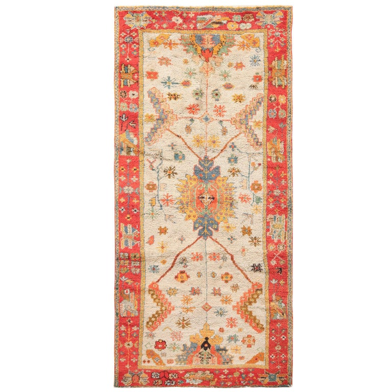 Antique Arts And Crafts Rugs: Light Blue Arts And Crafts Antique Turkish Oushak Rug For