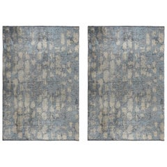 Light Blue Beige Silver Contemporary Fade Pattern Luxury Patina Rug Pair
