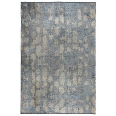 Light Blue Beige Silver Contemporary Fade Pattern Luxury Soft Semi-Plush Rug