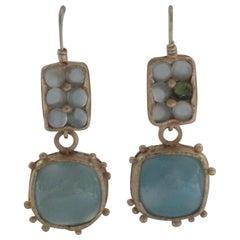 Light Blue Chalcedony Cabochon 22 Karat Gold Drop Dangle Earrings