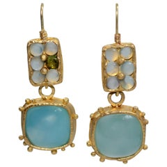 Light Blue Chalcedony Cabochon 22 Karat Gold Drop Dangle Earrings