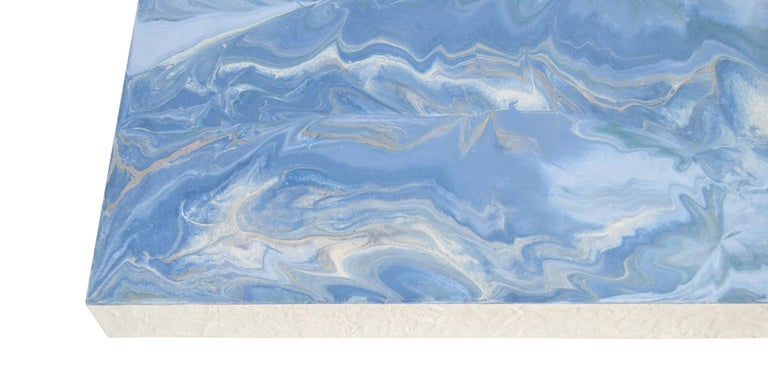 Modern Light Blue Coffee Table Marbled Scagliola Decorated Top, White Wooden Base For Sale