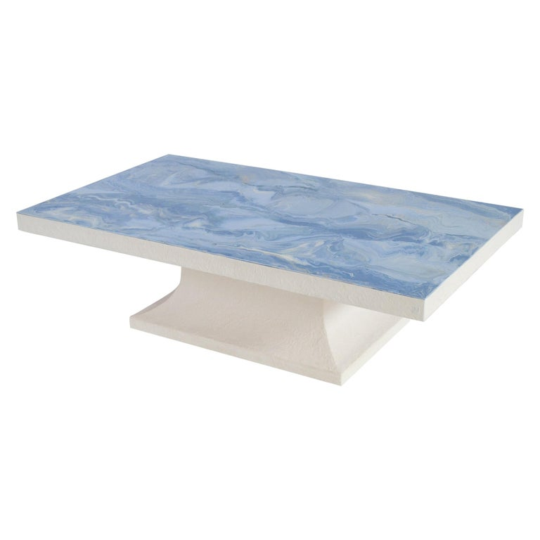 Light Blue Coffee Table Marbled Scagliola Decorated Top, White Wooden Base For Sale