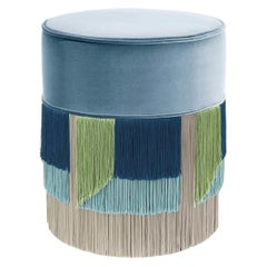 Light Blue Couture Geometric Flo Pouf