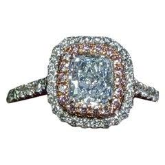 Light Blue Diamond Engagement or Anniversary Ring GIA