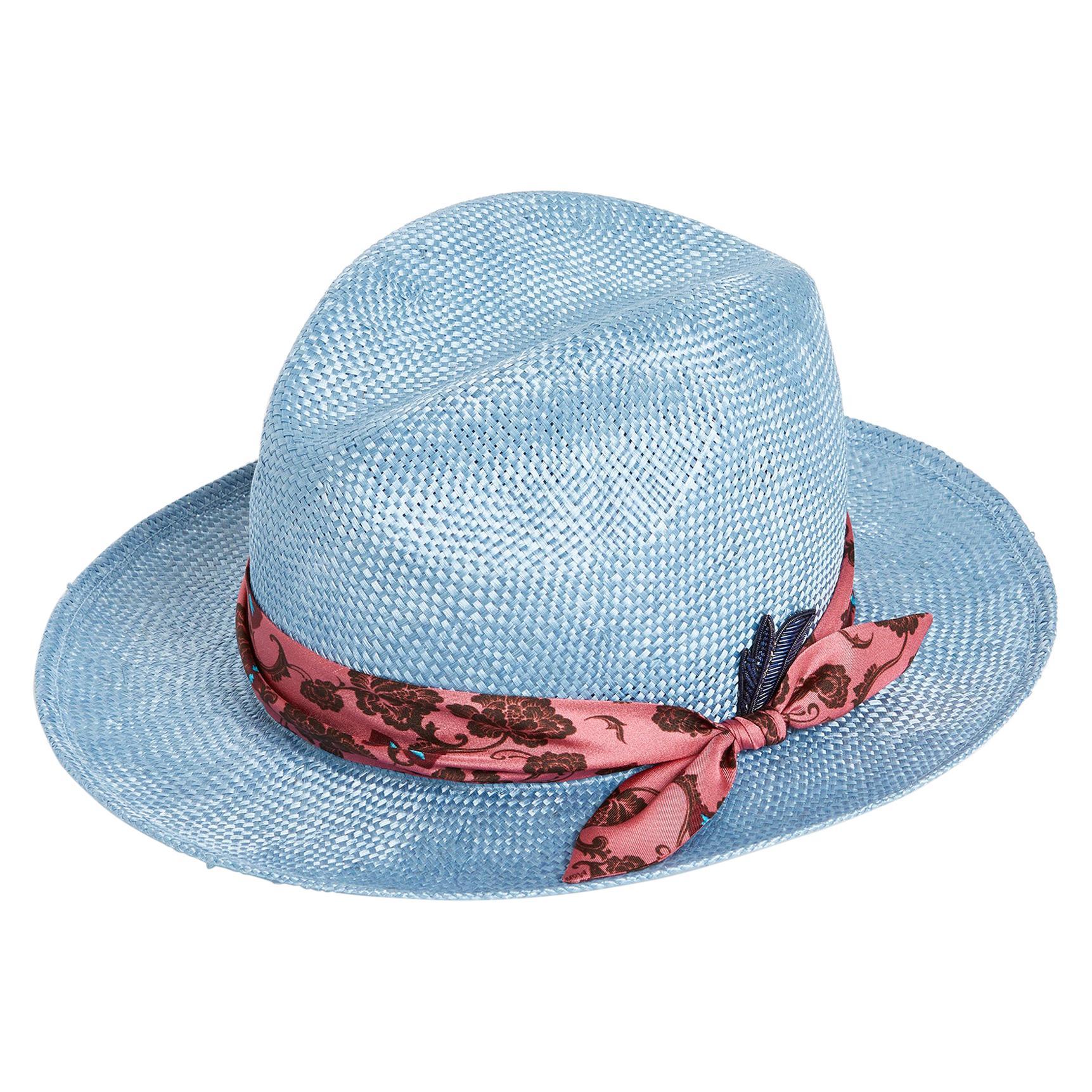 Light blue embellished handmade hat NWOT