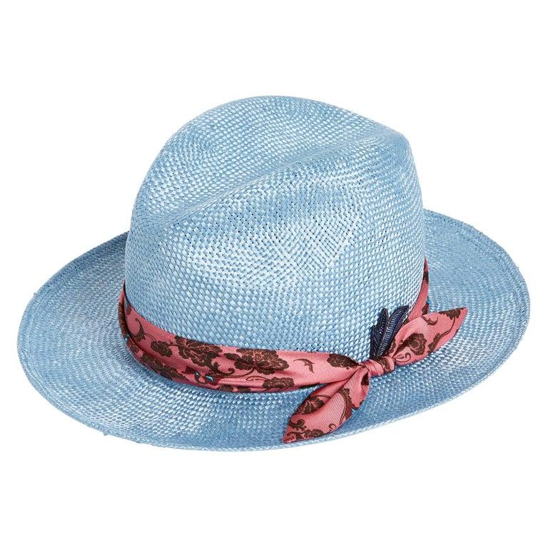 Light blue embellished handmade hat NWOT For Sale