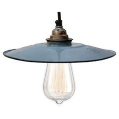 Light Blue Enamel French Vintage Industrial Pendant Lights (2x)