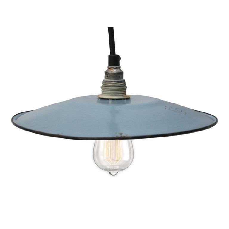 Light Blue Enamel French Vintage Industrial Pendant Lights