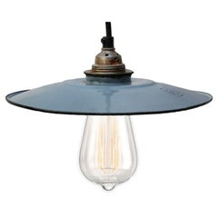 Light Blue Enamel French Vintage Industrial Pendant Lights (2x)