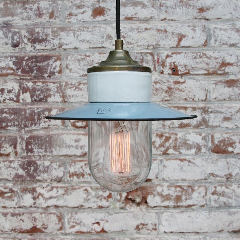 Light Blue Enamel Vintage Industrial Brass Porcelain Clear Glass Pendant Light In Good Condition For Sale In Amsterdam, NL
