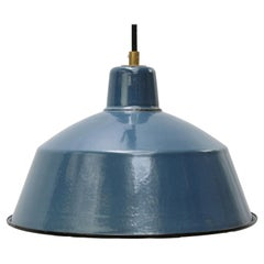 Light Blue Enamel Vintage Industrial Factory Pendant Light