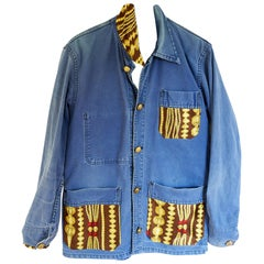 Jacket Blazer French Blue Distressed Vintage Designer Chain Silk J Dauphin