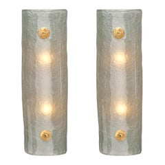 Light Blue Frosted Murano Glass Sconces