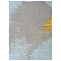 Light Blue Gray Gold Modernist Abstract Hand Knotted Rug