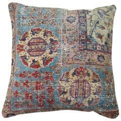 Light Blue Ivory Persian Tabriz Shabby Chic Pillow