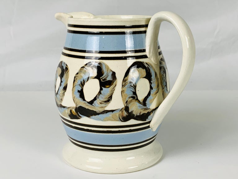 Light Blue Mochaware Pitcher with Cable Decoration, England, circa 1820 In Excellent Condition In Katonah, NY