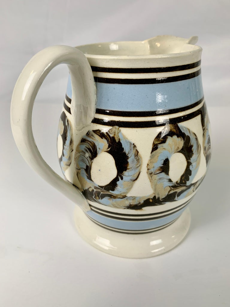 19th Century Light Blue Mochaware Pitcher with Cable Decoration, England, circa 1820