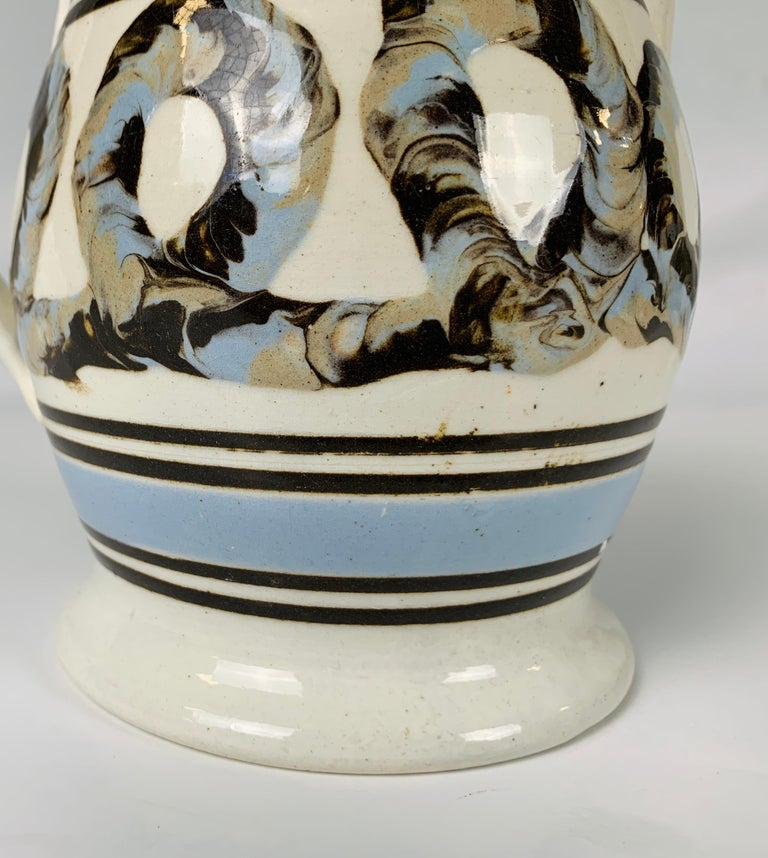 Earthenware Light Blue Mochaware Pitcher with Cable Decoration, England, circa 1820