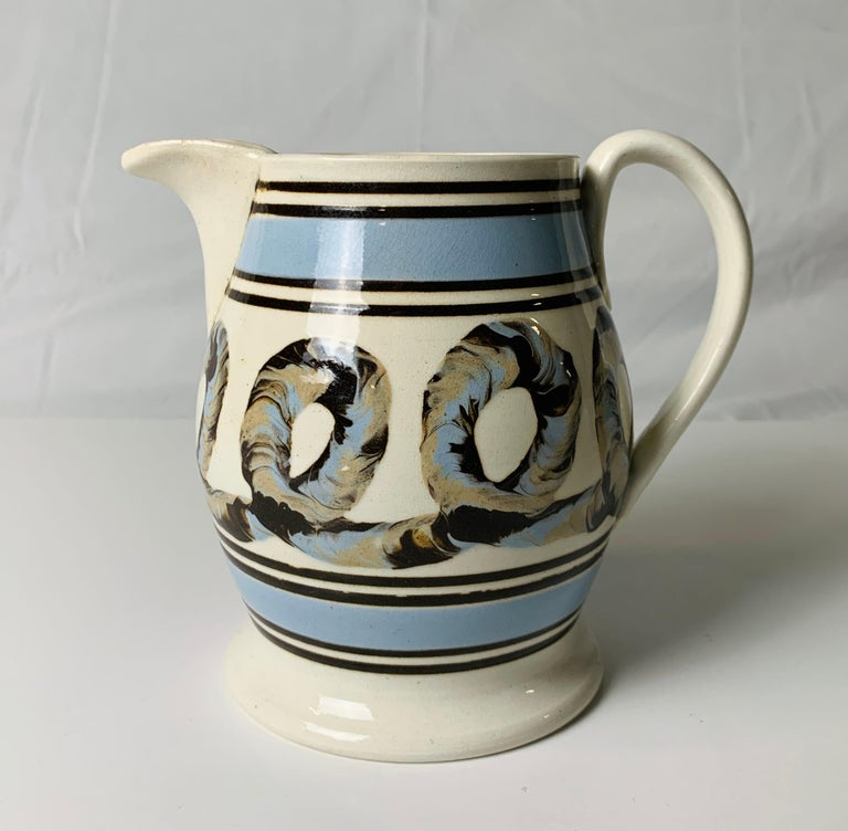 Light Blue Mochaware Pitcher with Cable Decoration, England, circa 1820 1