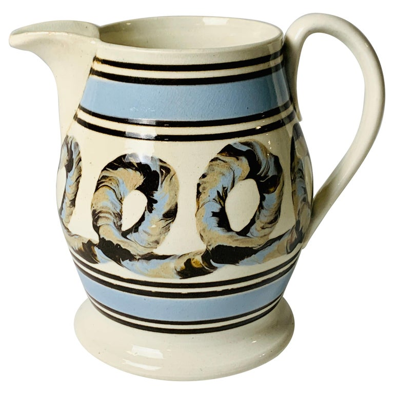 Light Blue Mochaware Pitcher with Cable Decoration, England, circa 1820