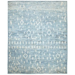 Nazmiyal Collection Light Blue Modern Moroccan Style Rug. 9 ft 4 in x 11 ft 5 in