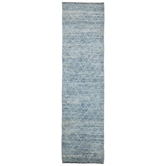 Light Blue Modern Moroccan Style Runner Rug. Size: 2 ft 9 in x 10 ft 9 in