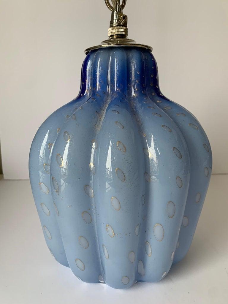 Mid-Century Modern Light Blue Murano Barbini Glass Pendant Light For Sale