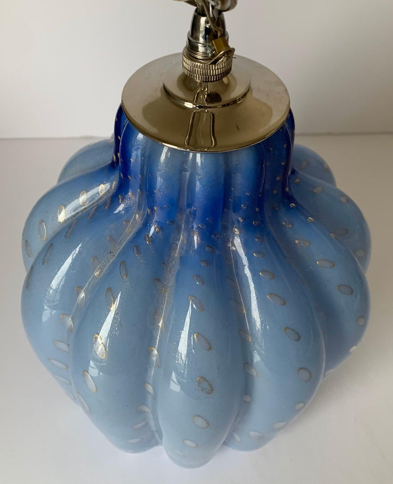 Italian Light Blue Murano Barbini Glass Pendant Light For Sale