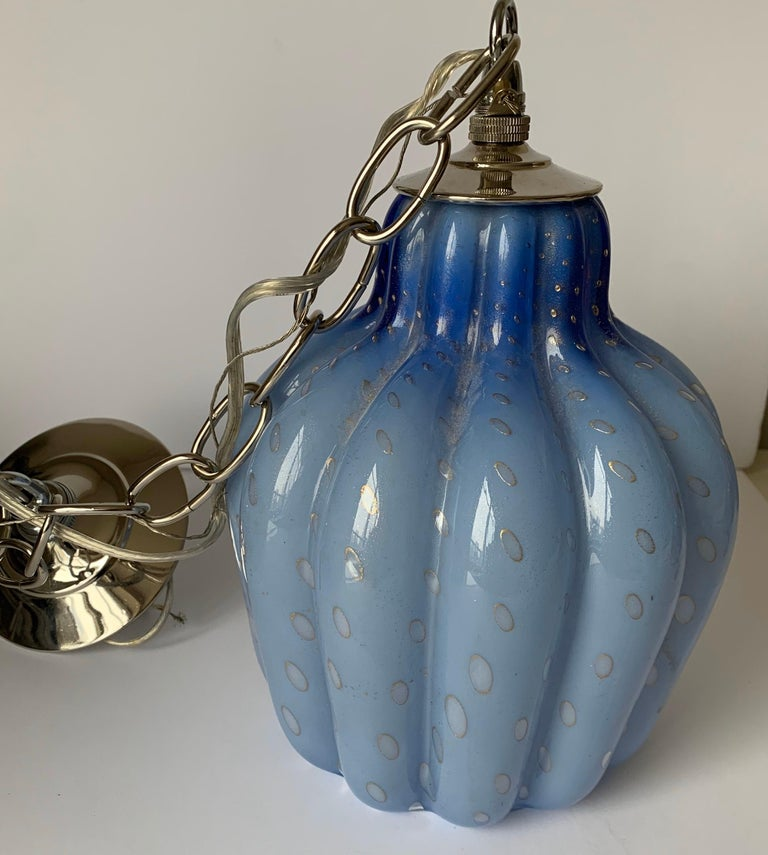 Light Blue Murano Barbini Glass Pendant Light In Good Condition For Sale In Stamford, CT