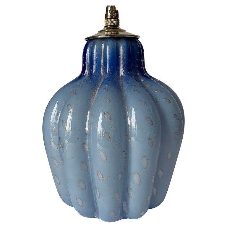 Light Blue Murano Barbini Glass Pendant Light For Sale