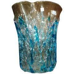 Light Blue Murano Blown Glass Vase