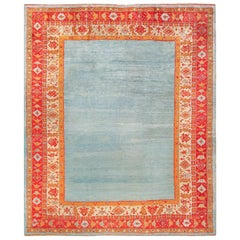 Light Blue Open Field Antique Turkish Angora Oushak Rug