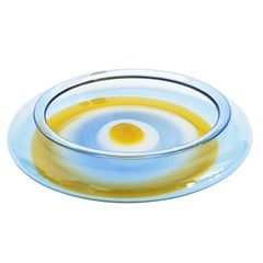 Light Blue and Orange 1960s Matching Plate by Gian Maria Potenza for La Murrina