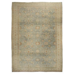 Light Blue Peach Oversize Persian Tabriz Rug, Early 20th Century