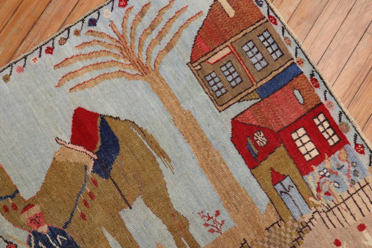 Light Blue Pictorial Camel Horse Animal Motif Throw Rug In Good Condition For Sale In New York, NY