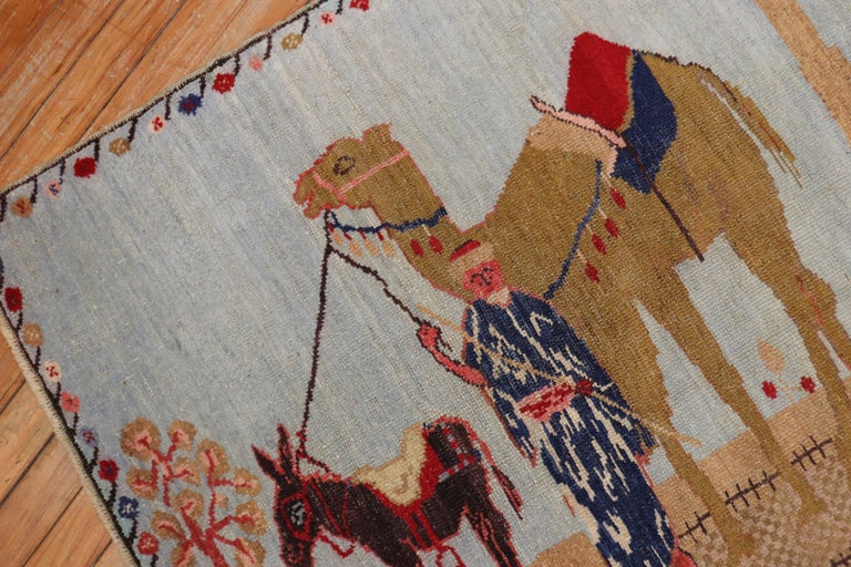 20th Century Light Blue Pictorial Camel Horse Animal Motif Throw Rug For Sale