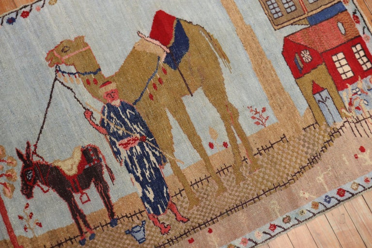 Wool Light Blue Pictorial Camel Horse Animal Motif Throw Rug For Sale