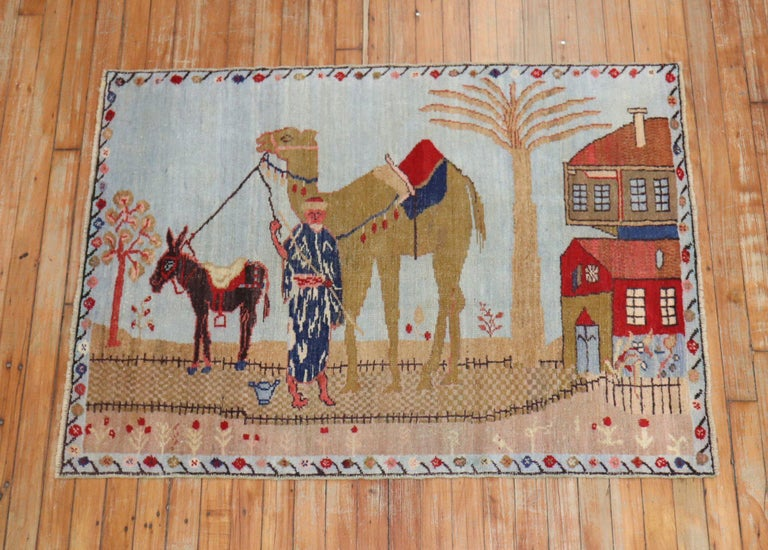 Light Blue Pictorial Camel Horse Animal Motif Throw Rug For Sale 1