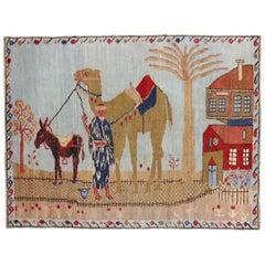 Light Blue Pictorial Camel Horse Animal Motif Throw Rug