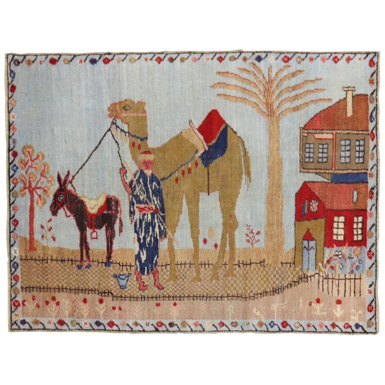Light Blue Pictorial Camel Horse Animal Motif Throw Rug For Sale