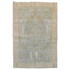 Light Blue Pictorial Traditional Persian Tabriz Rug
