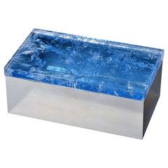 Light Blue Quartz Brass Box